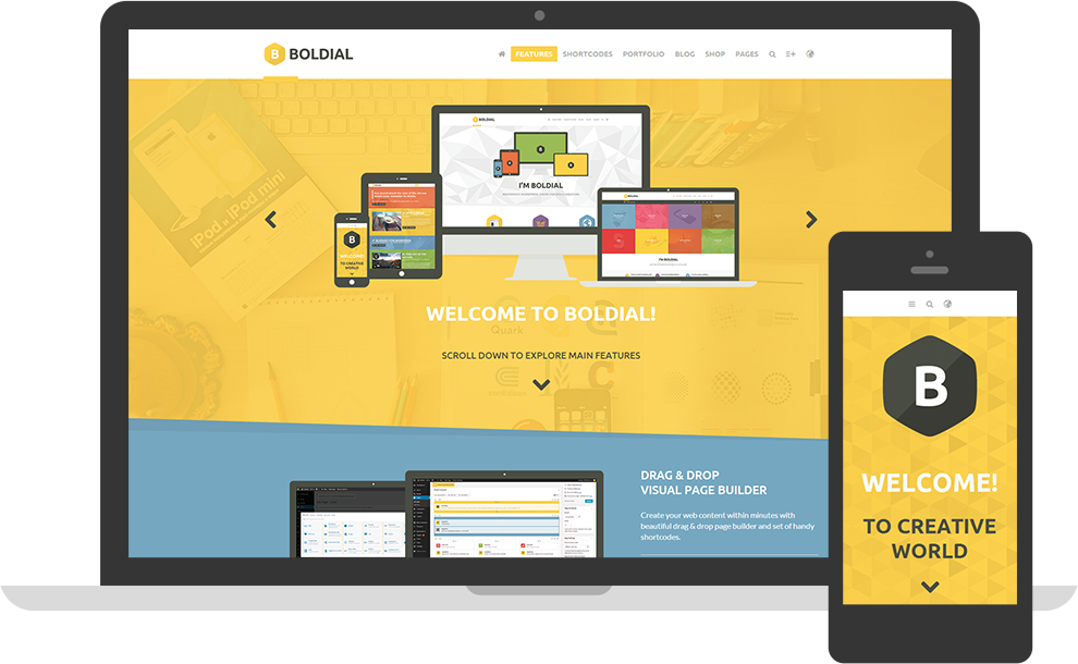 Boldial Flat Colourful WordPress Theme